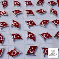 Türk Bayrağı Rozet Gümüş Renk