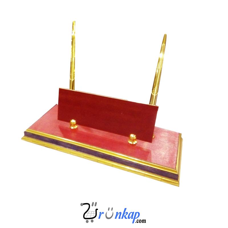 Kırmızı Deri Masa İsimliği