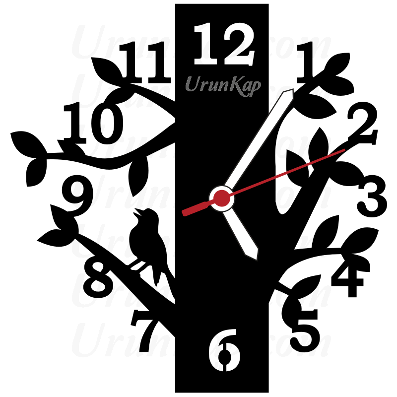 Dekoratif Ağaç Tasarımlı Saat