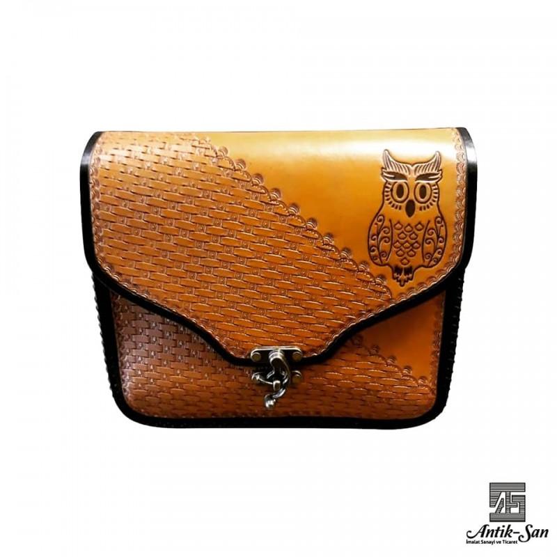Baykuş Figürlü Deri Çanta
