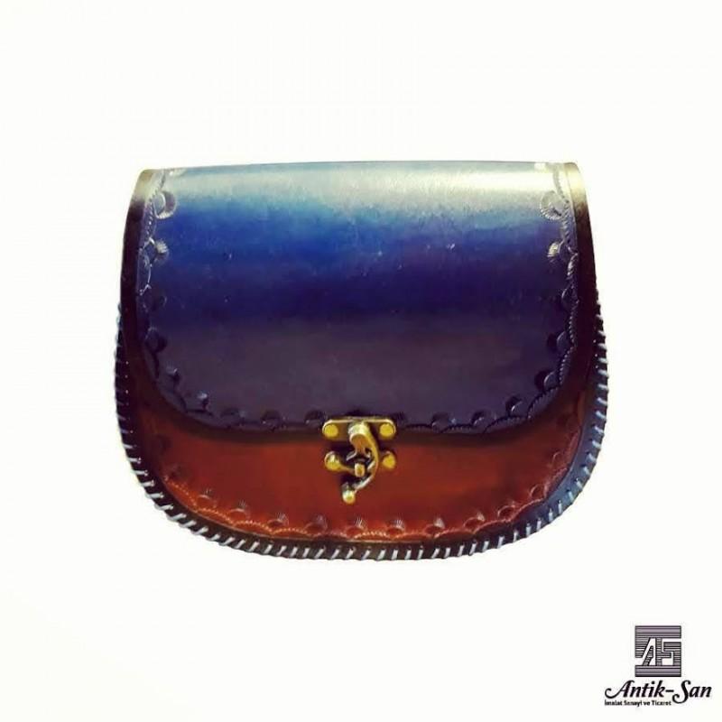 Mavi Desenli Deri Çanta