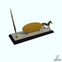 Pirinç At Figürlü Kalemli Masa İsimliği