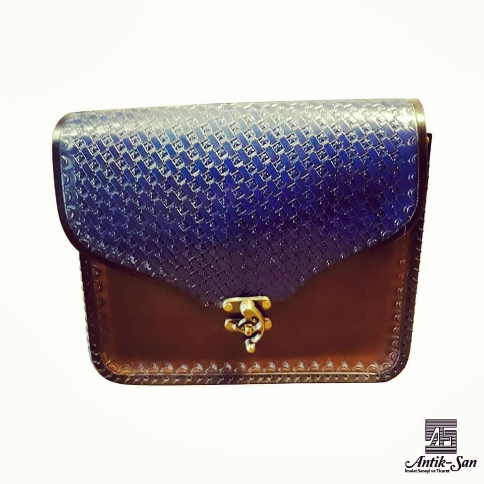 mavi deri çanta