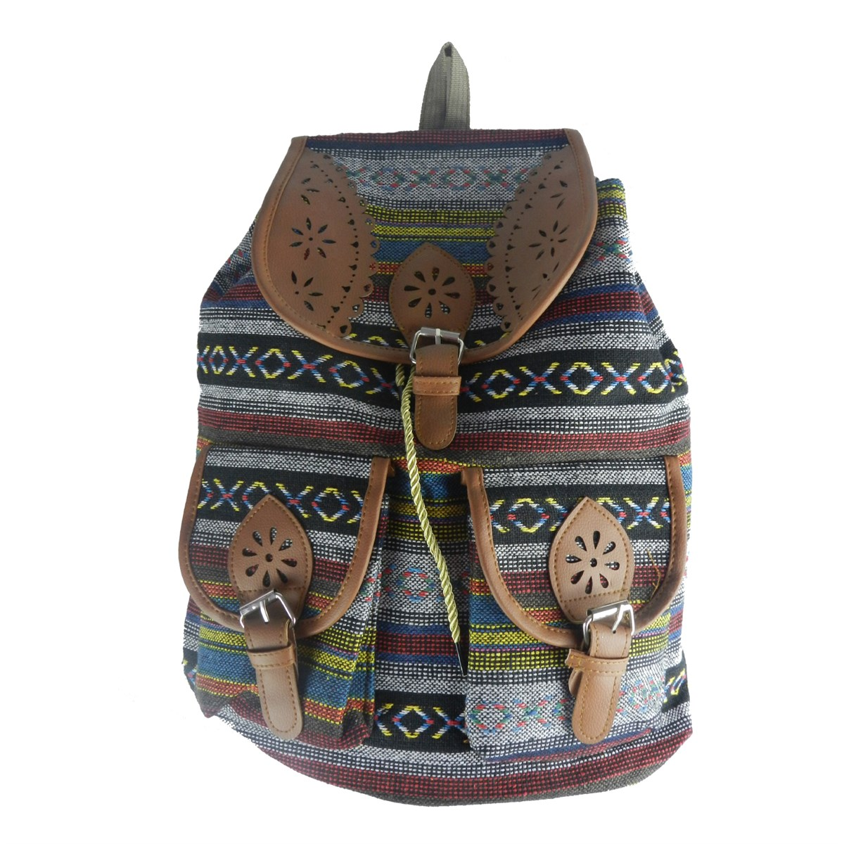 derili kilim desenli sırt çantası