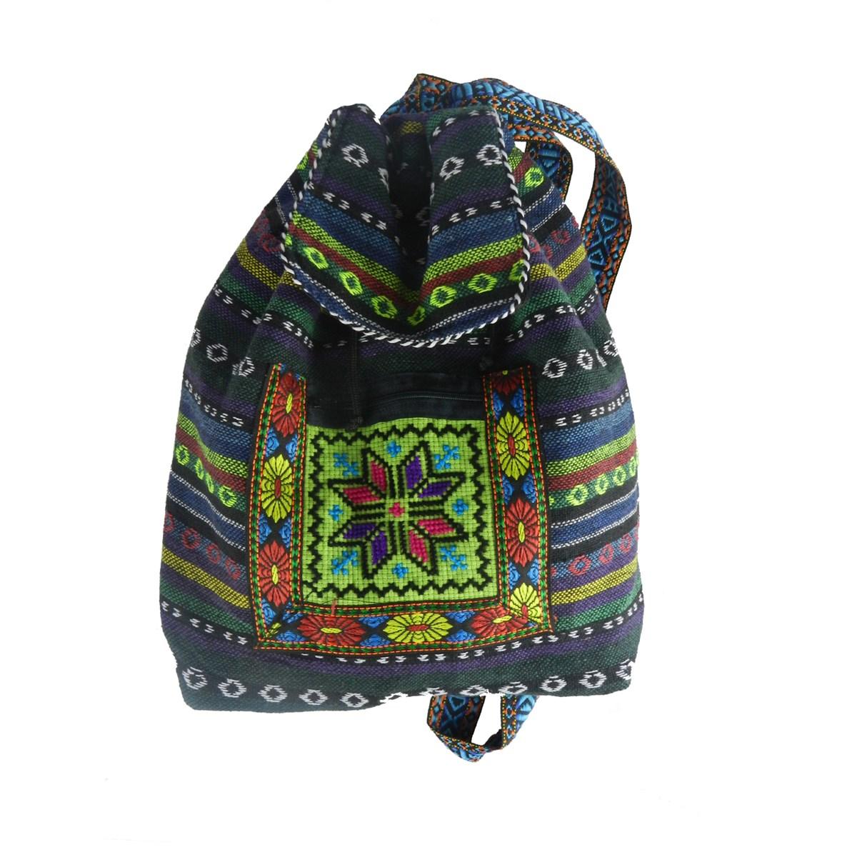 dekoratif kilim desenli sırt çantası