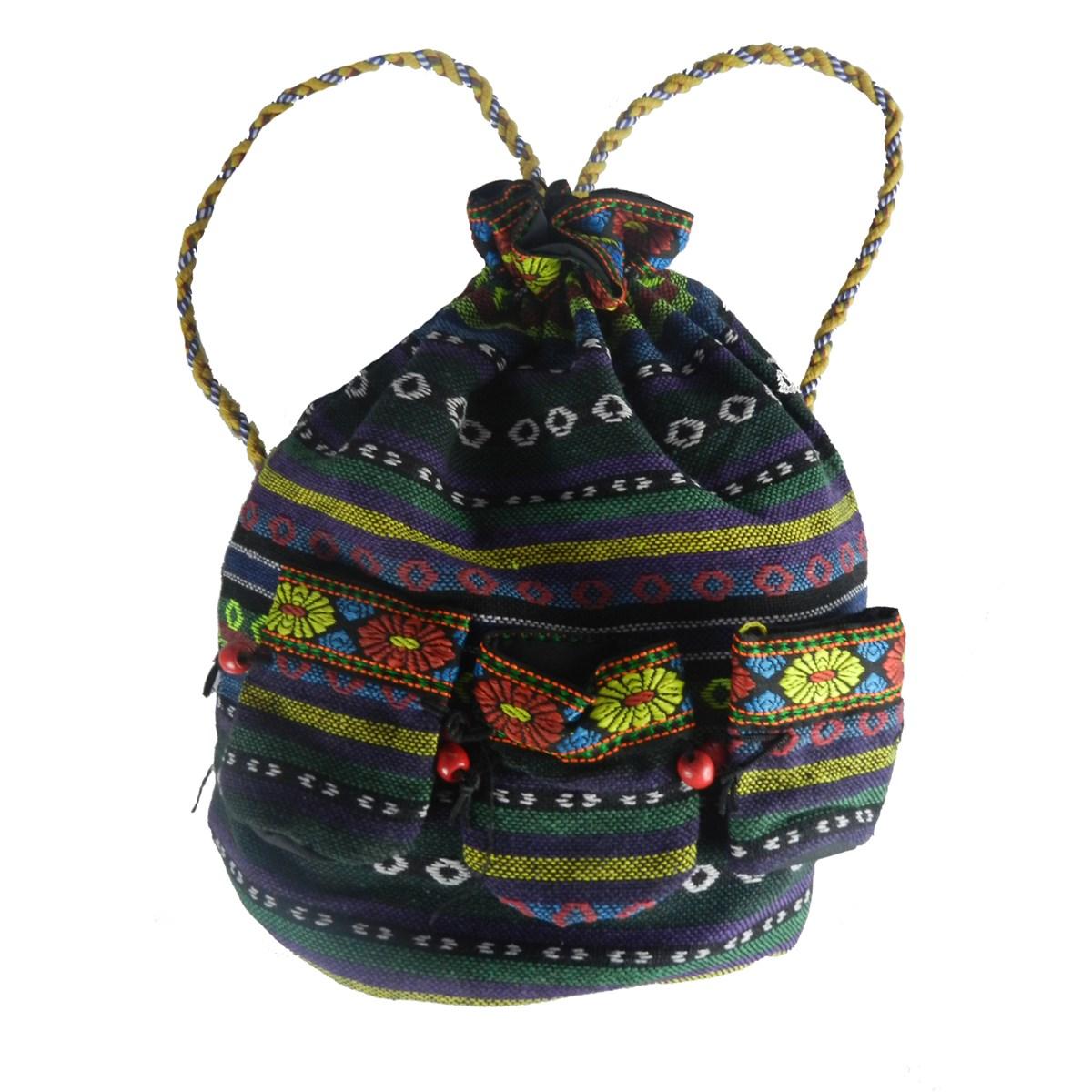 kilim desenli kadın sırt çantası