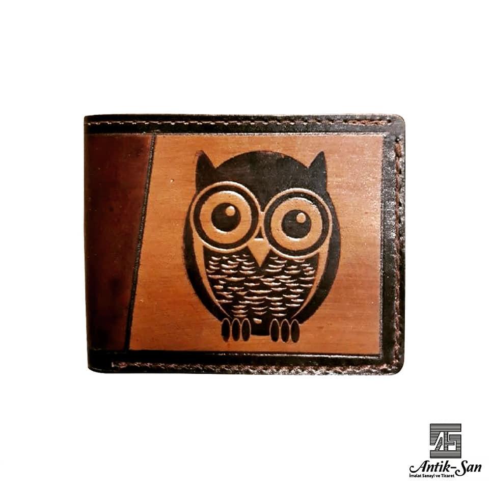 baykuş deri cüzdan