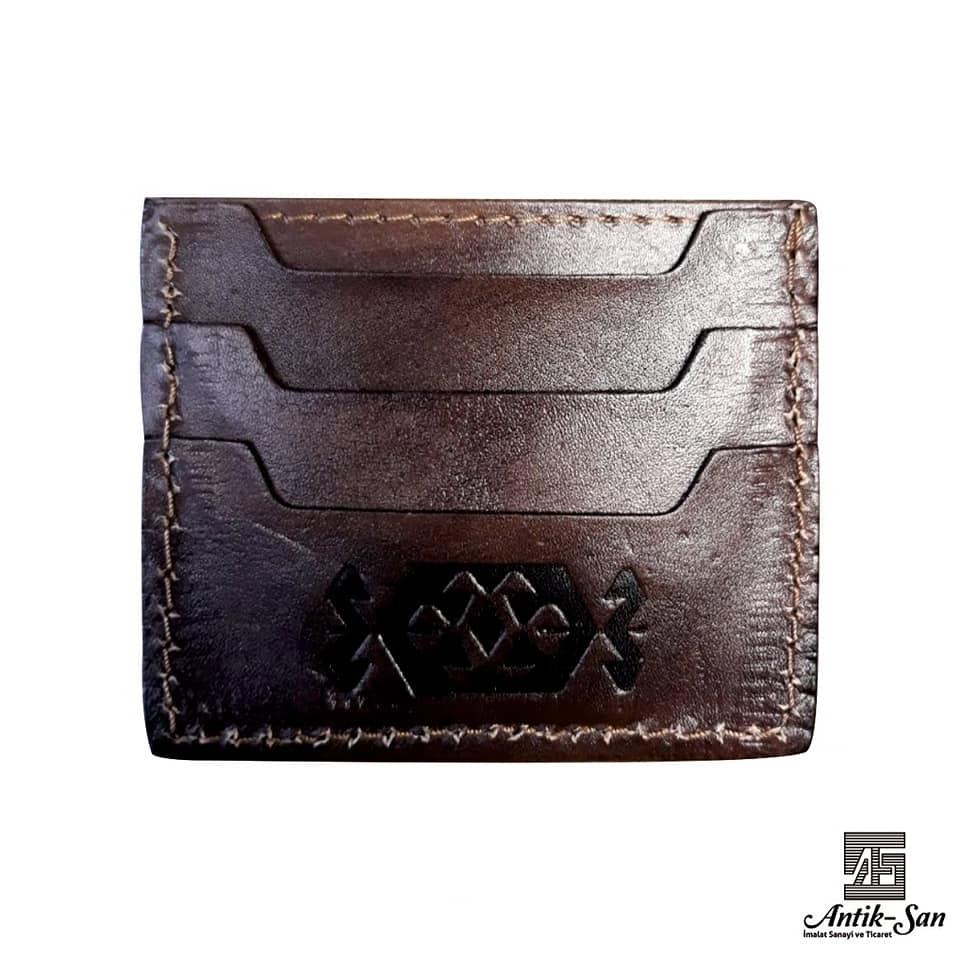 hakiki deri motif işlemeli kredi kartlık