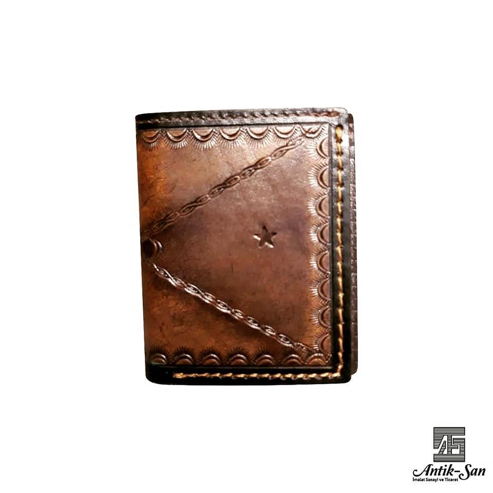 yıldız desenli deri cüzdan
