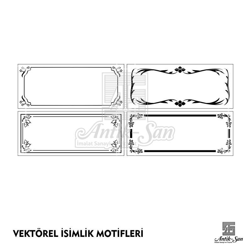 vektörel motif isimlik motifleri çizim vector