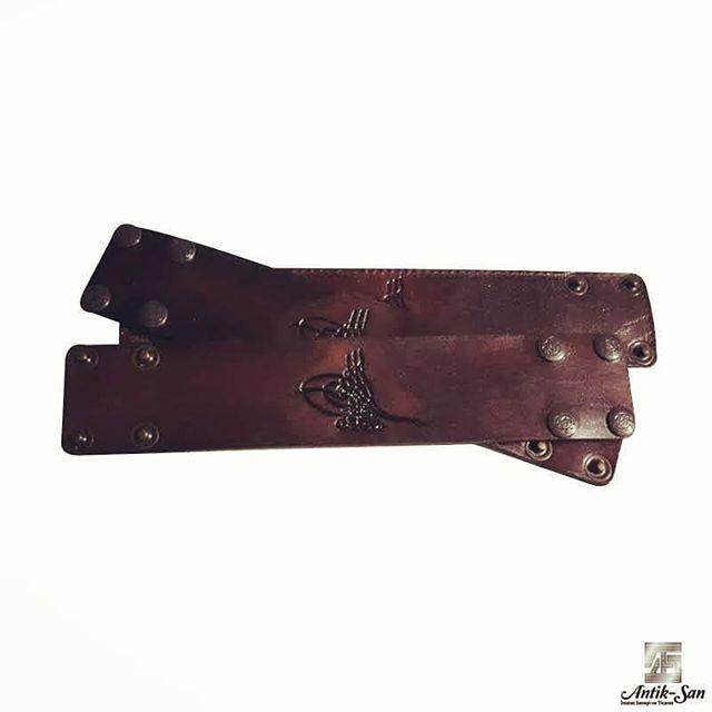 Osmanlı Tuğralı kösele deri bileklik