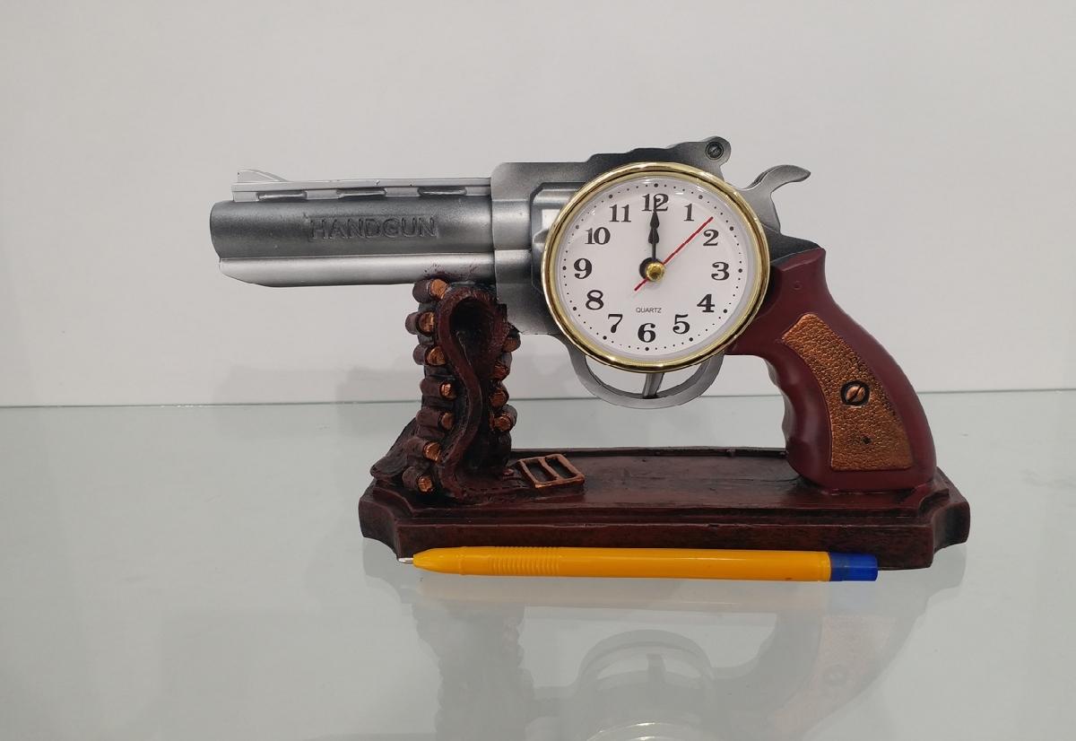 masa saati tabanca dekoratif hediyelik
